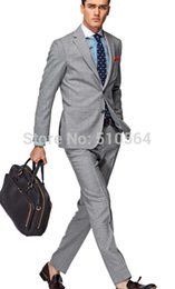 Wholesale Italian Wool Men Suit - Wholesale- Free shipping Italian high quality worsted 100% Wool suit Men Casual Business suit Two Buttons light Gray Suit (jacket+pants)