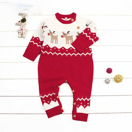 Wholesale Sweater Romper - Everweekend Baby Boys Girls Dears Knitted Christmas Long Sleeve Rompers Toddler Baby Red Blue Color Winter Sweater Romper