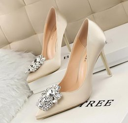 Wholesale Ms Spring - New Arrival Women's elegant Rhinestone Pumps Lady silk fabrics low-cut High heel shoes for Female MS wedding bride dress shoes NY112