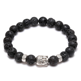Wholesale Stone Beads Charms - Men's Women's Diffuser Jewelry Anti-fatigue Silver Buddha Lava Natural Stone Charms Bracelets Volcanic Rock Prayer Beads Bracelet