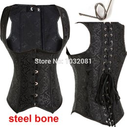 Wholesale Bones Weight - Wholesale-S - 6XL Gothic steel boned waist training black corset underbust with back support weight loss corpete corselet e espartilho E02