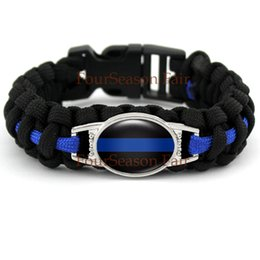 Wholesale Thin Alloy Bangles - Police Lives Matter Thin Blue Line Paracord Survival Logo Bracelet Metal Clasp Police Mom Wife Parachute Rope Bracelet Bangles-Drop Shipping