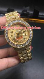 Wholesale Watch Hip Hop - Full iced Mens Hip Hop watch hot new item gold case with gold face luxury wristwatch water resistant free shipping brand Diamonds watches