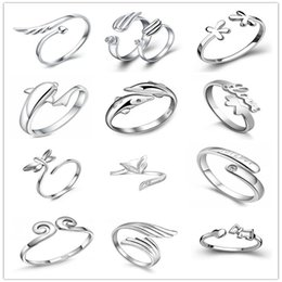 Wholesale Butterflies Dragonflies - 925 Sterling Silver Jewerly Rings Dolphins Dragonfly Wings Of The Angel Love Fox Butterfly Opening Adjustable Ring For Women
