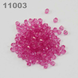 Wholesale Acrylic Bicone Beads 4mm - 4mm Diy Lucite Bicone Transparent Acrylic Beads (900 pcs) pink 11003