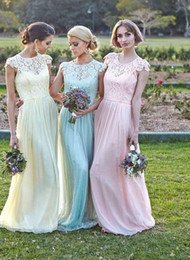 Wholesale Long Sleeve Prom Dreses - Lace Bridesmaid Dresses Sheer Cap Sleeves Sash Pale Yellow Aqua Pink Long Wedding Party Dreses 2016 Chiffon A Line Prom Dresses Evening G