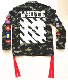 Wholesale Womens Green Military Coat - 2018 High Quality Mens Womens Justin Bieber Camouflage Off-White Jacket Kanye West Fashion Military Camo Off White Jackets And Coats