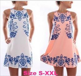 Wholesale Retro Printed Sleeveless Dress - 2016 Summer Style Hot Sale New Fashion Elegant Beach Retro Ceramic Print Dress Femme Vestido Round Neck Women Chiffon Dress