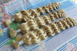 "Wholesale Hair Extensions Bulk Blonde - Thick End Indian Deep Wave Bulk Human Hair Extension Cheap Blonde Curly Bulk Human Hair Extensions No Attachment 10-28"""