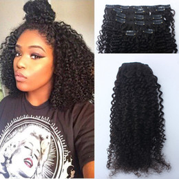 "Wholesale European Hair Clips - Afro Kinky Curly Clip In Human Hair Extensions 120g Mongolian Human Hair African American Clip In Extensions 10""-26"" Clip Ins"