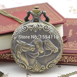 wholesale horse watches Promo Codes - 50pcs lot Wholesale Collection Flip Pocket Watch Horse Pattern Qurtz Pocket Watches Christmas Gift Watch New Year Promotion