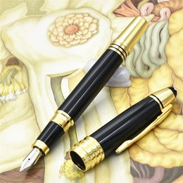 Wholesale steel fountain - luxury JOHN F. KENNEDY series Gold Clip Fountain Pens with high quailty stationery school office supplies brand writing ballpoint pen gif
