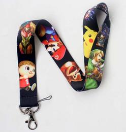 Wholesale Lanyard Keys Id Neck - Free Shipping 20 Pcs Game Super Smash Bros Lanyards Neck Strap Keys Camera ID Card Lanyard Mobile Phone Neck Straps