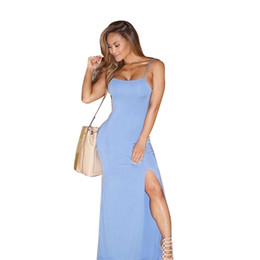 Wholesale Maxi Bra Dress - 2016 New Arrival Blue Sexy Dresses Women Sexy Elegant Bra Tank Party Dresses Slim Club Wear Vintage Dress Slip Sleeveless tight dresses