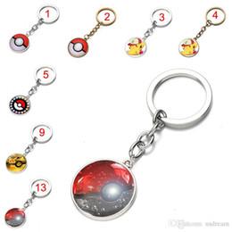 Wholesale pokemon pikachu keychain - 16 colors Poke ball keychain Pocket Monsters Poke mon Pikachu Eevee Charizard time gemstone glass cabochon key chain key rings Gift