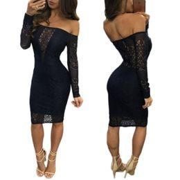Wholesale Tight Fitting Black Lace Dress - Slash Neck Lace Dress Sexy tight fitting Package hip Dresses Club party dress elegant women Tulle lace bodycon dress Night Out mini dresses