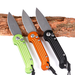 Wholesale Tactical Camping - LUDT tricolor fast open knife Horizontal opening single action D2 blade Hunting Folding Pocket Knife Xmas gift for men 1pcs