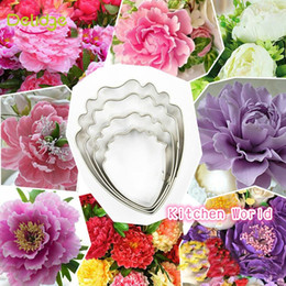 Wholesale Peony Cake - 4 pcs lot Heart Peony Flower Cake Mold Stainless Steel Fondant Sugarcraft Cookie Biscuit Cutter Cake Decorating Mold DIY Tools