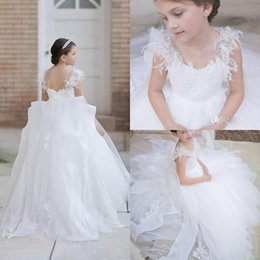 Wholesale Pure White Flower Girl Dresses - Pure Flower Girl Dresses with Crystal Appliques Feather A Line Wedding Gowns For Little Girls Backless Birthday Party Dresses 2017