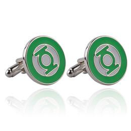 Wholesale Green Man Cufflinks - Green Lantern Cufflink Cuff Links Collar Button for women men Shirt Business Suit alloy Cufflink Christmas Jewelry Gift 170538