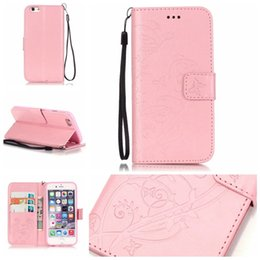 Wholesale Iphone Gel Flip - For iphone 7 6 6s plus Embossed Wallet Leather Case Flip Soft Gel Cover Flower Butterfly for iphone 5 5s 5c DHL SCA200