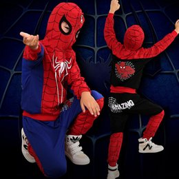 Wholesale Kids Spiderman Jacket Red - venetian Comic Spiderman Red Black Spider man Anime Cosplay Children Clothes Set Halloween Costume for Boys Kids jacket pants