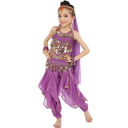 Wholesale Indian Bollywood Dancing - Belly Dance Girls (Top+Genie Pants+Waist Chain+Veil+Headwear+Bracelet) Bollywood Dance Costumes Children Indian Clothing Dresses