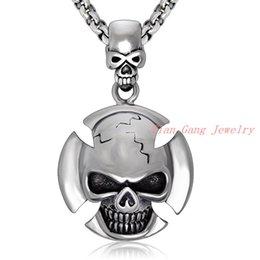 Wholesale Hot New Mens Chain Necklace - Wholesale 2016 New Hot Sale Fashion Jewelry Cool Skull Chain Mens Stainless Steel Necklaces & Pendants For Men boys
