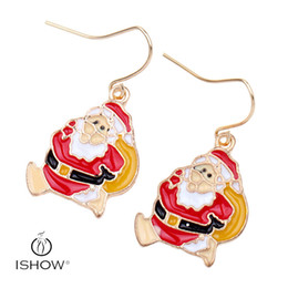 Wholesale I Earrings - I SHOW Santa Claus earrings red earring cheap charm eardrop for christmas gift for friend or lover