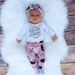 Wholesale Long Sleeve New Baby Bodysuit - Baby outfits Letters infants clothing sets Toddler girl Fashion Baby bodysuit + pant hat headband 4pcs set Fall Long sleeve New year clothes