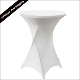 Wholesale Wholesale Spandex Cocktail Table Covers - 10PC Lot New Dry Bar Cocktail Table Cover High Quality Polyester Spandex Stretch Highboy Table Cloth for Cocktail Table Covering of wedding