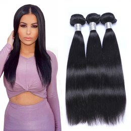 Wholesale Indian Remy Hair Weave Wholesale - Brazlian Straight Human Virgin Remy Hair Weaves Natural Black Color Double Wefts Can Be dyed Blaeached 3pcs lot Hair Extensions
