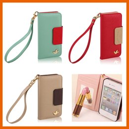 Wholesale Clip Water Holder - NEW PU Leather Mobile Phone Case Cover Wallet Card Holder Pouch Flip for iPhone 5 5s 6 6s Plus Samsung S7 S7 Edge