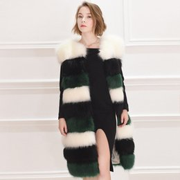 Wholesale Long Sleeveless Stripped Dresses - 4xl Wholesale-top quality New real Luxury fox fur vest women dress winter jacket coat waistcoat long genuine fox fur waistcoat china factory