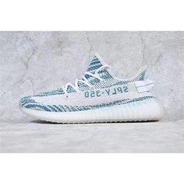 Wholesale Handmade Flat Shoes - 2017 New Boost 350 V2 Teal Blue White Blue Zebra DA5690 Kanye West Sneakers Sply 350 Boost V2 Men Handmade Shoes With Box US7-12