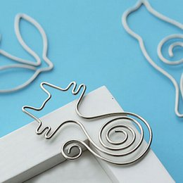 Wholesale Cute Metal Bookmark - Creative 2pcs lot Creative Cute Paper Clips Bookmark Memo Clip School Supplies Stationery Cute Prize Gifts School Office Supplies