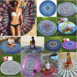 types de feu Promotion 17 Types New Summer Large Shawl Hot Round Beach Towel Fire Peacock Mandala 150cm Serviettes de bain de plage Bohemia Style Bikini Covers