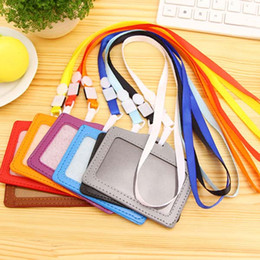 Wholesale certificate card - Free Shipping 20pcs Neck Strap Lanyard Sling ID Badge Holders PU Name Card Case Certificate Horizontal Style With Lanyard Papelaria