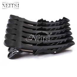 Wholesale Black Hair Extensions Salons - Neitsi 10pcs lot Black Matte Hairdressing Hairpin Salon Crocodile Hair Clips Clamps for Hair Extensions &Styling