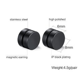 Wholesale Magnets For Jewelry - Wholesale Magnetic Round Stud Earrings For Men Boy 316l Stainless Steel Magnet Ear Jewelry Don't Need Ear Canal