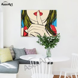 Wholesale Cafe Paint - Ssshhh! Famous Design of Deborah Azzopardi Girl Painting Oil Canvas Prints Modern Mural Picture for Home Living Hotel Cafe Wall Decor