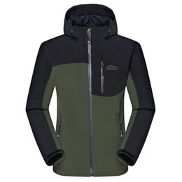 Vestiti da trekking all'aperto online-Giacche invernali Softshell degli uomini all'ingrosso-All'ingrosso Giacche sportive maschili all'aperto antivento caldo campeggio trekking escursionismo abbigliamento da sci di marca