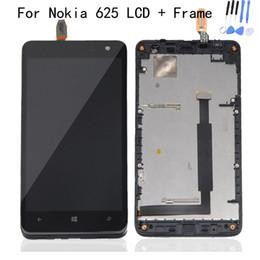 Schermo di tocco lumia 625 online-Display LCD + Touch Screen Digitizer assemblato con telaio per Nokia Lumia 625 N625 Assemblaggio LCD Test superato 100% Originale nuovo 1 pz Lotto