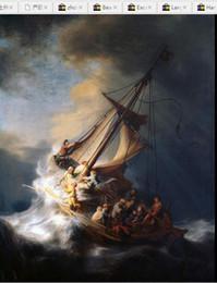 Pintura a óleo vela on-line-Rembrandt - Christ no barco de vela com as ondas de oceano enormes - tempestade, retrato pintado à mão puro Art Oil painting na lona em todo o tamanho personalizado