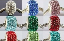 Wholesale Rhinstone Bracelet - 10mm*14mm mixed 15 Color In Random rhinstone beads hotsale bracelet HOT silver plated Crystal Big Hole Beads European bead