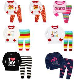 Wholesale Kids I - Kids Pajamas Girls Long Sleeve Stripe Children Pajamas sets T-shirt+pants 2 pieces Letter I Love Mom Dad 6 sets l