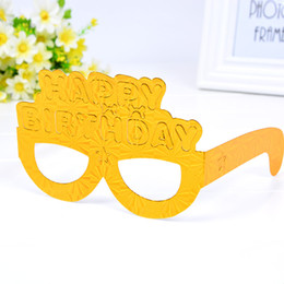 Wholesale Happy Balls - Happy Birthday Spectacles Eco Friendly Glitter Paper Glasses Masked Ball PartySupplies Mask Eyeglass For Child Popular 1 5hq B R