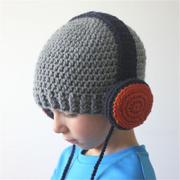Wholesale Baby Earphones - 2016 Newly Baby Kids Crochet Hat Children Hand-Made Headset Earphone Style Hat Winter Warm Beanies Free Shipping