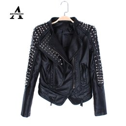 Wholesale Black Spike Jacket - Wholesale-Black Leather Jacket Women Punk Rivets Studded Motorcycle Spiked PU Streetwear Leather Jackets Cazadora Cuero Mujer