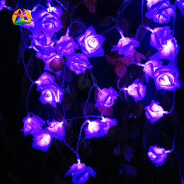 Wholesale Red Rose String Lights - Events and Parties 2M 20LED Rose LED String Lights Battery Wedding Birthday Decoration Lightings Rose LED Guirlande Lumineuse